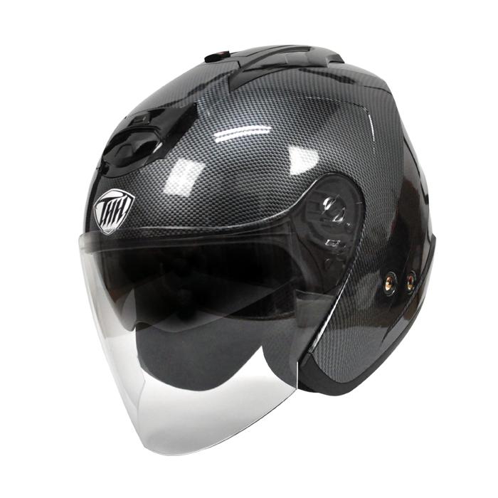 【送料無料】 【THH】 インナーサンバイザー採用 ジェットヘルメット T-386 グラフィックモデル カーボンプリント 【PSC 日本国内公道走行可能のSG規格認定】全排気量対応【THH日本総代理店】