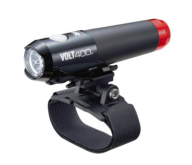 【送料無料】【CATEYE(キャットアイ)】 HL-EL462RC-H VOLT400 DUPLEX ブラック テール一体式ヘルメットライト ヘルメット専用ライト バッテリーインジケータ搭載 USB充電式のテールライト付きカートリッジバッテリーは工具なしで交換可能 【バッテリーインジケータ搭載