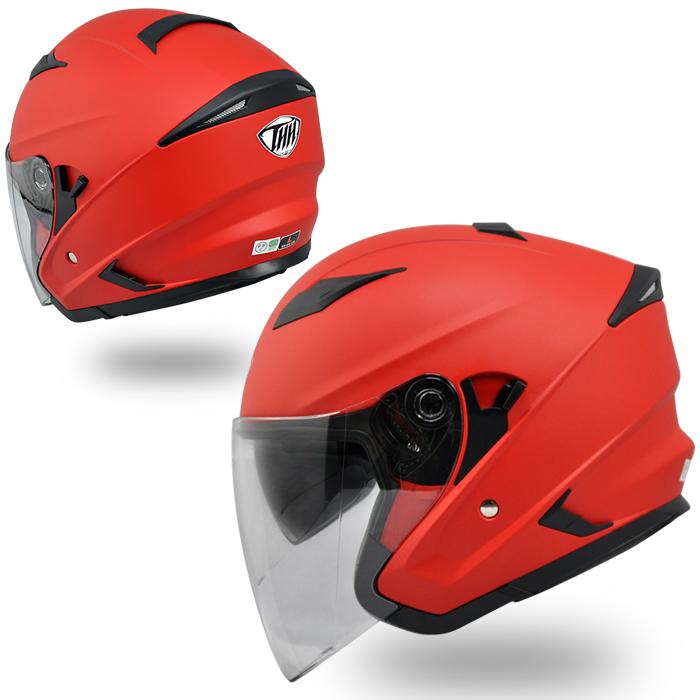 【THH】 インナーサンバイザー装備 ジェットヘルメット T-560S マットレッド 耳が痛くなりにくいイヤーカップ設計 全排気量対応 【thh-t560s-mr】