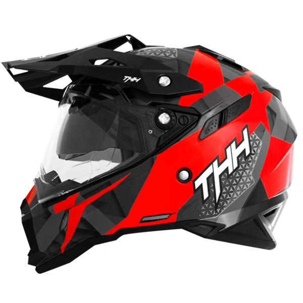 【年末特別セール!】【送料無料】THH インナーサンバイザー装備 オフロードヘルメット TX-28 ウェイク レッドホワイト  モトクロス 全排気量対応 【thhtx28wrw】