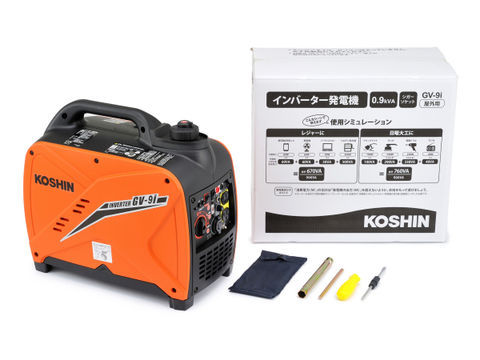 【4909449494431】【KOSHIN 工進】 GV-9i インバーター発電機 【屋外作業・非常時の備え】