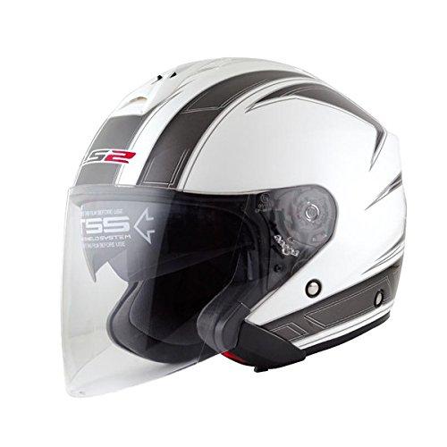 【LS2(エルエスツー)】フリーウェイ (FREEWAY) エスプリホワイト ジェットヘルメット UVカットシールド・バイザー標準装備 【SG規格取得・公道走行可】