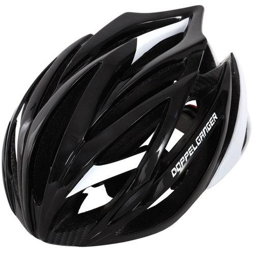 【4589946137453】【送料無料】【ドッペルギャンガー】 自転車用ヘルメット ブラック/ホワイト rennen(レネン) 大人用 【レインカバー付き】