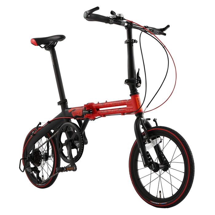 【4589946140668】【ドッペルギャンガー】 16インチ 折りたたみ自転車 104-R-RD [パラレルツインフレーム] シマノ7段変速 アルミニウム製 52T レッドxマットブラック  【代引き、日時指定配送不可】