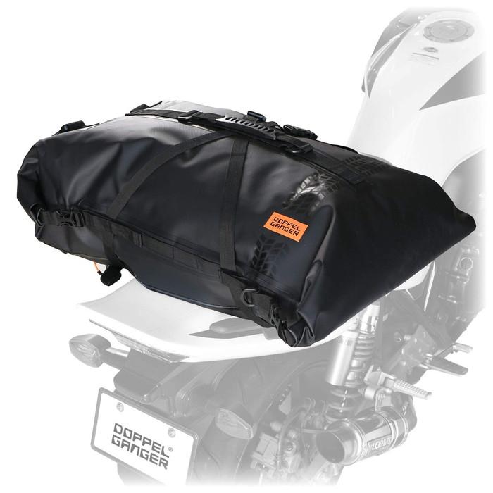 12月中入荷予定【ドッペルギャンガー】 【4589946141153】DBT427-BK ターポリンツーリングシートバッグ【キャンプツーリングに必要な防水・大容量・確実な固定】 60L バイク用