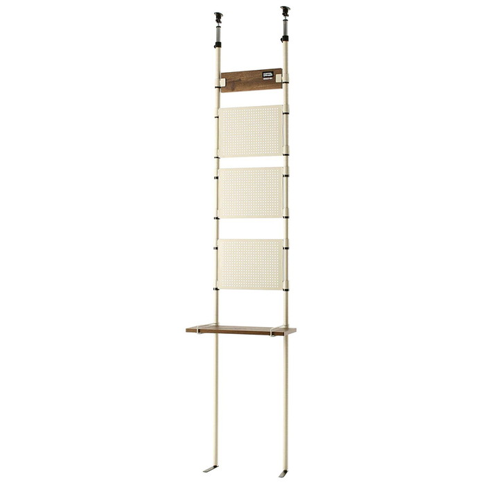 【ドッペルギャンガー】 【4589946141894】突っ張り棒方式DIY家具 DDS521-BG「ウォールラック」40W ベージュ 有孔ボードと飾り棚付き DDS521-BG