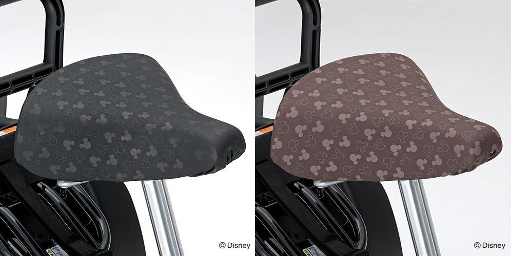 ディズニーとのコラボ商品 【YAMAHA(ヤマハ)】 PAS Babby un用 サドルカバー(ミッキーシェイプ)全2色 ブラック/ブラウン 電動アシスト自転車 Q4J-SGI-721-9xx