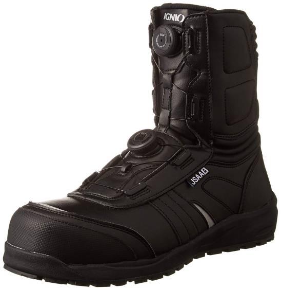 直輸入品激安 送料無料 ブーツタイプ安全靴 IGNIO 物品 イグニオ 4589682690946 JSAA A種認定 耐滑ソール ダイヤル式安全靴 ブラック ライディングシューズにも IGS1067TGF IGS1067 プロスニーカー ブーツタイプ