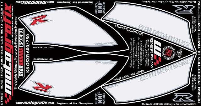 【送料無料】【モトグラフィックス・海外取り寄せ 約一か月】 【4580041208925】ボディパッド REAR      GSX-R600/750 K6/K7(06/07 P084-0896【キャンセル不可商品】
