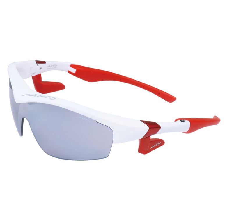 【4560159782135】【AirFly エアフライ】サングラス  AF-201 C-3W マットホワイト/ライトグレー W/CL 世界初 ノーズパッドレス スポーツ 鼻パッドなし UVカット 軽い 曇らない