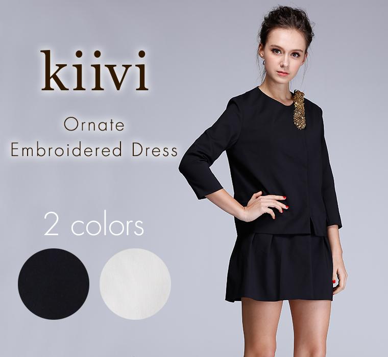 (Kiivi)Ornate Embroidered Dress オーナメント刺繍ミニドレス ドレス レディース a-l008