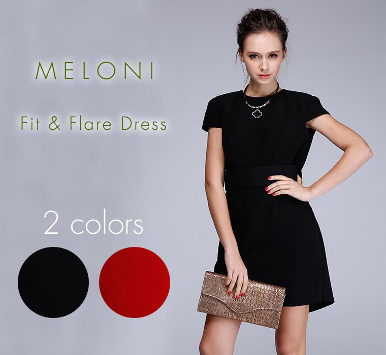 (MELONI)Fit & Flare Dress タイトフレアドレス a-l011