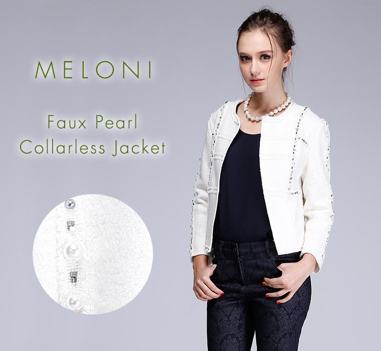 (MELONI)Faux Pearl Collarless Jacket 飾りパールジャケット ジャケット レディース a-y008