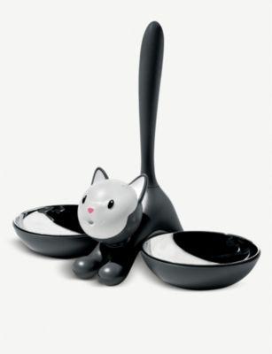 ALESSI おすすめ特集 ティグリット ステンレススチール キャットボール 28cm Tigrito bowl stainless-steel cat #Black 大規模セール