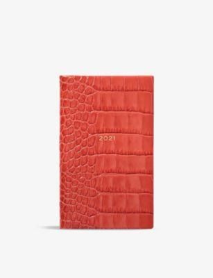 SMYTHSON 売れ筋ランキング マラ パナマ 2021 クロコエンボス レザー ダイアリー #CORAL leather Mara Panama SALE diary 14cm croc-embossed