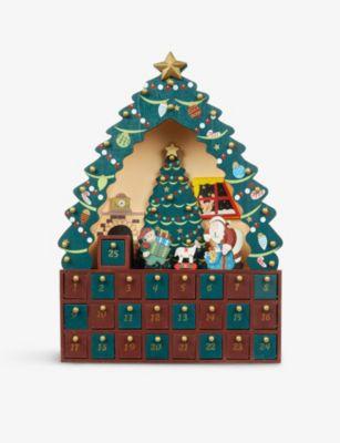 CHRISTMAS クリスマスツリー ウッデン アドベント カレンダー 38cm tree calendar #multicoloured Christmas ブランド品 wooden 超目玉 advent