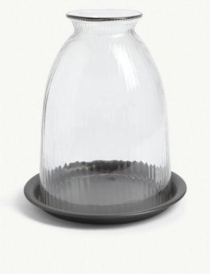 公式通販 THE WHITE COMPANY リサイクルグラス キャンドル ホルダー ウィズ トレー 17.6cm holder 有名な Recycled-glass x18cm 18cm with candle #Clear x tray