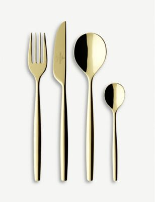 VILLEROY BOCH メトロシック ドアー ゴールドプレーテッド ステンレススチール 70ピース カトラリーセット MetroChic set NEW売り切れる前に☆ gold-plated 70-piece stainless d'Or #GOLD cutlery 安心と信頼 steel