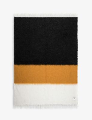 VISO V47 モヘア 売れ筋 アンド ウールブレンド ストライプ ブランケット 135cm 最新号掲載アイテム striped x wool-blend mohair 200cm and blanket