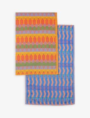 YINKA ILORI ジオメトリック プリント コットン ティー タオル 2個セット 76cm x towels set Geometric cotton 日時指定 正規認証品 新規格 two 47cm print tea of