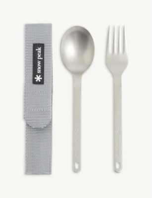 SNOW PEAK チタニウム フォーク アンド スプーン セット ウィズ トラベル ポーチ and spoon #TITANIUM with fork おすすめ 送料無料激安祭 set Titanium pouch travel