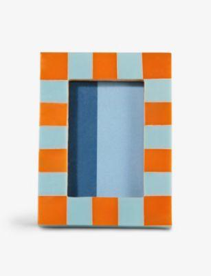 KLEVERING チェック フォトフレーム 10.5cm x8cm Checked 新作製品 世界最高品質人気 photo 物品 x #ORANGE frame 8cm