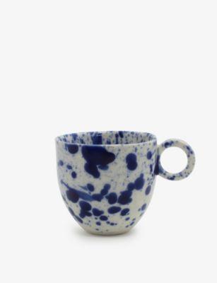 春の新作 ANNA JONES スプラッター ハンドプリント ポーセレイン 期間限定で特別価格 エスプレッソカップ 110ml porcelain espresso cup hand-painted Splatter