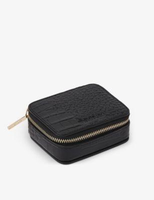 WHISTLES クロコダイルエンボス レザー トラベル ジュエリー 特別セール品 ボックス leather #BLACK Crocodile-embossed 在庫一掃売り切りセール box travel jewellery