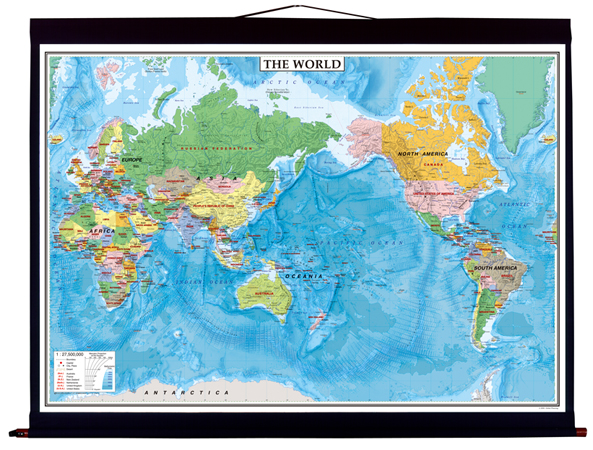 中判 THE WORLD英語版世界地図 布軸製(No.2018)