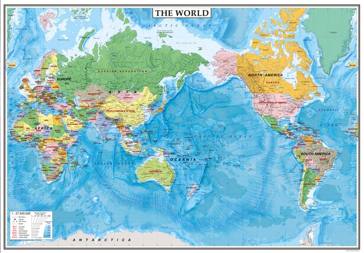 表面pp加工中判 the world太平洋中心タイプ 英語版世界地図5102グローバルプランニング