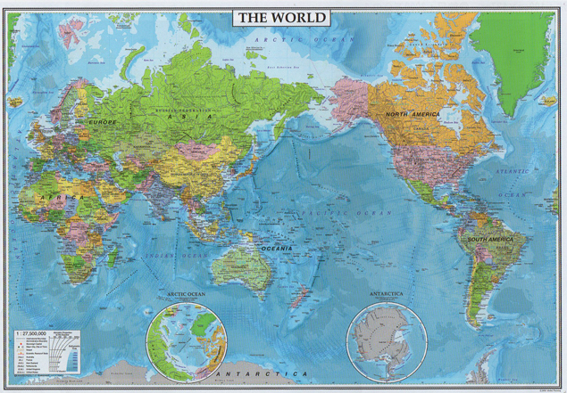 表面PP加工 中判 詳細 THE WORLD太平洋中心(英文世界全図)5100