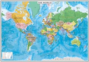 表面PP加工中判 THE WORLDヨーロッパ中心タイプ (英語版世界地図)5103