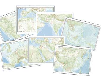 レリーフ入り 世界地方別白地図ホワイトボード(東アジア・東南アジア・南アジア・西アジア ヨーロッパ中心部・南ヨーロッパ/北アフリカ・北アメリカ中心部 の中から1地方)