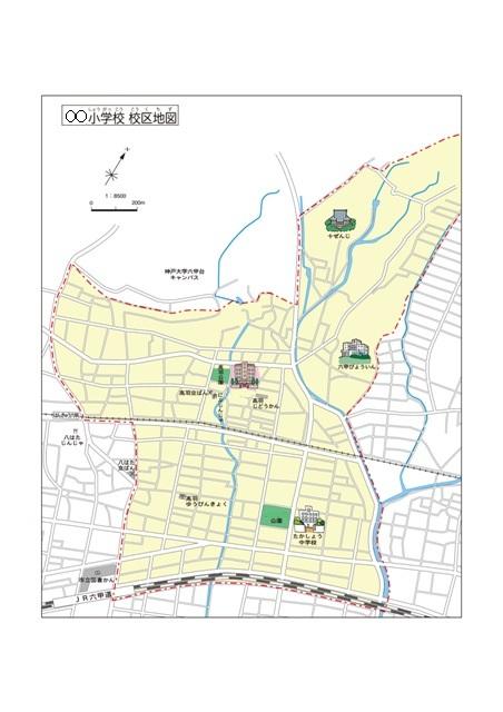 特注 地域(校区)地図 ラミネート加工地図データ(CD-ROM)付