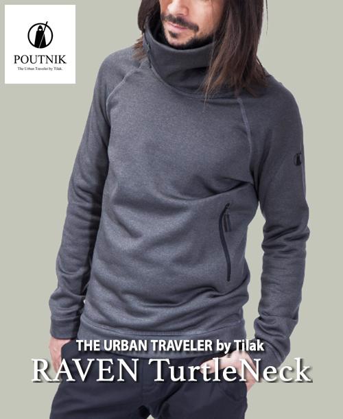 《POUTNIK(Tilak)・メンズ》ポートニック(ティラック)RAVEN TurtleNeck(ラーベン タートルネック)チャコール色(XS/S/M/L/サイズ)【送料無料】※デザインが特徴的なミッドレイヤーフリース。