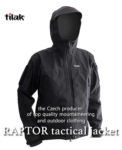 《Tilak・メンズ》ティラックRAPTOR Tactical Jacketラプタータクティカルジャケットブラック色(S/M/Lサイズ)【送料無料】 11月下旬のお届け予定 ※タクティカル仕様のゴアテックスジャケット。