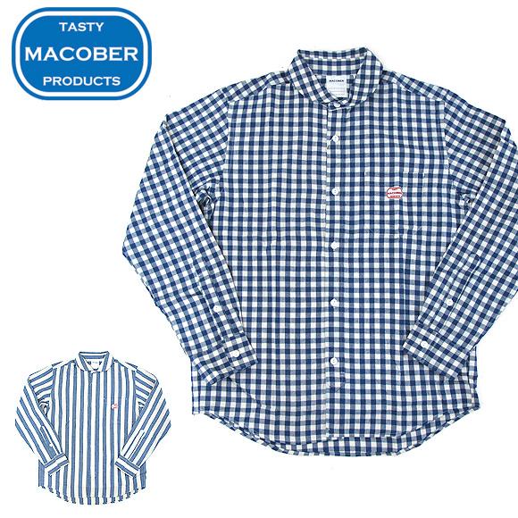 マコバ MACOBER 99388 インディゴ 丸襟 長袖 ワークシャツ
