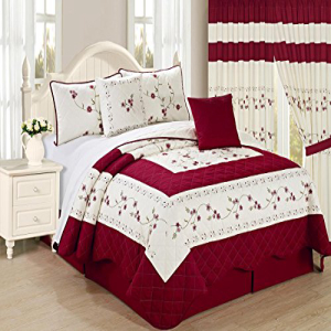 All American Collection 秀逸 New 6pc Embroided Floral Bedspread Cal 6PC Size Quilt Burgundy Set King メーカー在庫限り品