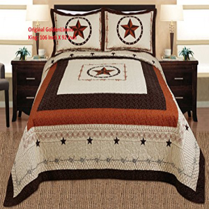 3-piece Western Lone Star Barb Wire Cabin / Lodge Quilt Be