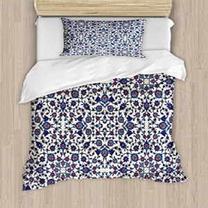 Ambesonne Arabesque Duvet Cover Set Twin Size, Moroccan Fl