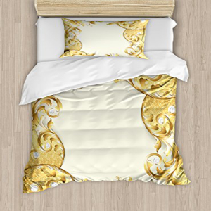 Ambesonne Pearls Duvet Cover Set Twin Size, Illustration o