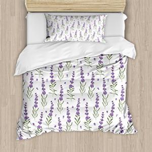 Ambesonne Lavender Duvet Cover Set, Nature Pattern with De