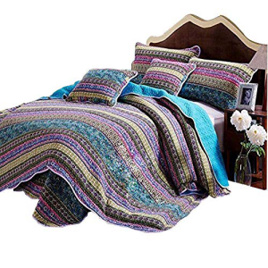 AMWAN Boho Style Floral Quilt Set Cotton King Bedspread Blue Striped SALE Patchwork 驚きの値段 Adults Flower for Teens Coverlet Vintage Piece 3 Girls Bed Bohemian