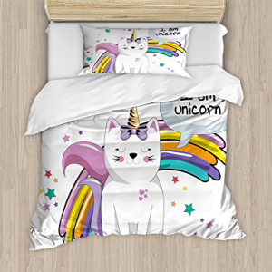 Ambesonne Unicorn Cat Duvet Cover Set, Fairy Animal with Ic