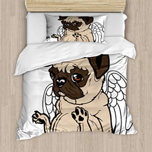 Ambesonne Pug Duvet Cover Set Twin Size, Pug Puppy Angel w