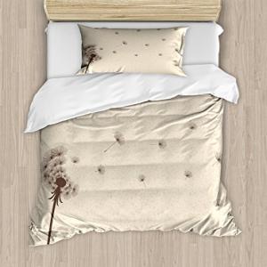 Lunarable Cream Duvet Cover Set Twin Size, Blown Dandelion