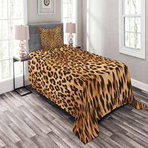 Lunarable Animal Print Bedspread Set Twin Size, Wild Anima