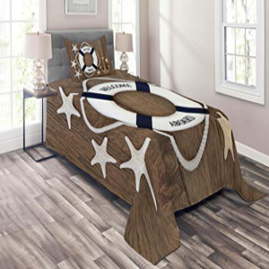Lunarable Anchor Coverlet Set Twin Size, Lifebuoy Anchor S