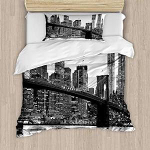 Ambesonne Modern Duvet Cover Set, Brooklyn Bridge Sunset w