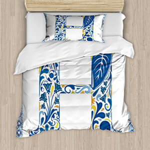 Ambesonne Letter H Duvet Cover Set Twin Size, Azulejo Fram